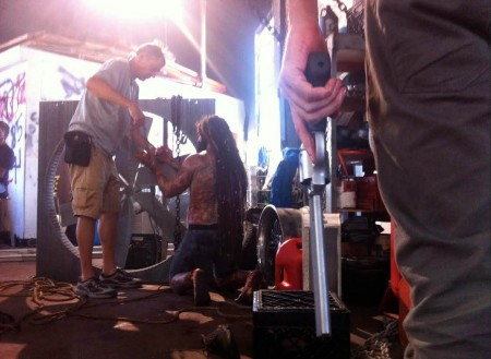 On the set of Overtown