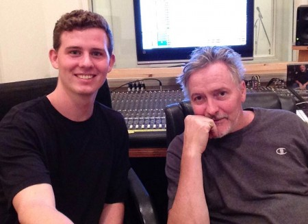 Austin House and mentor Kevin McCarthy at Cityview Recording