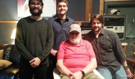Corey Pitts, Jon Sartain, and Reid Harris on-set with Charlie Daniels.