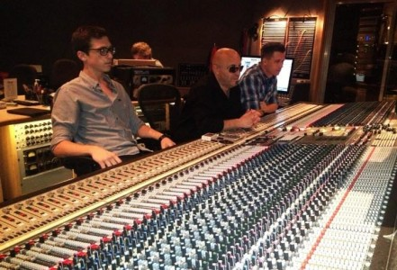 RC apprentice Hayden Lewis, Josquin Des Pres and Ian Sutton at Capitol Studios in Studio A.