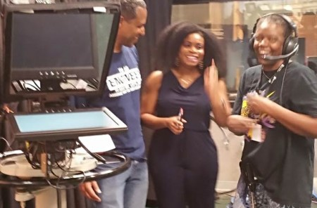 "Cameraman Jesse, Susan Berger (Floor Director), and Oby Nwaogbe on the set of DCTV'S ""Student Exposure"""
