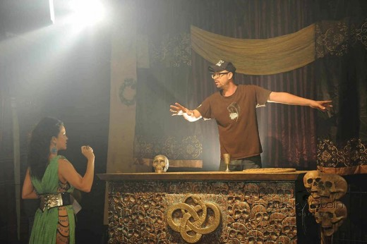Actor Baby Norman and Director Jason Winn on set of Paula Peril: The Serpent Cult
