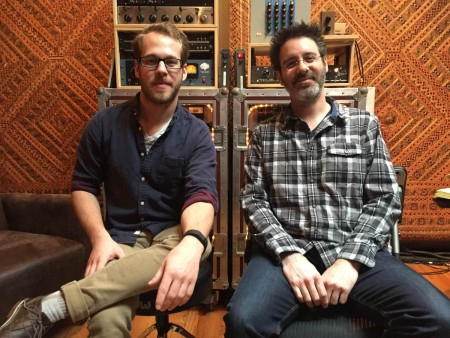 Travis Ball (left) with Recording Mentor Ryan Hewitt (right)
