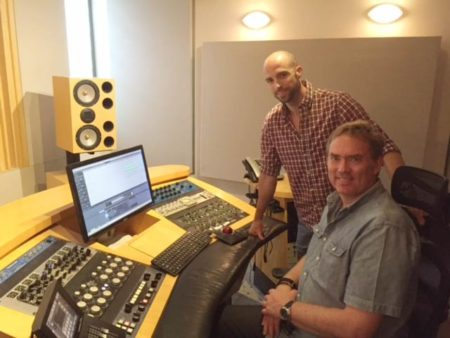 Darren Fewins and Mark Christensen (seated) at Engine Room Audio