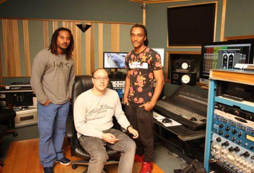 Dion Johnson, mentor Joe Delfino, and Devon Johnson at Miller Street Studios