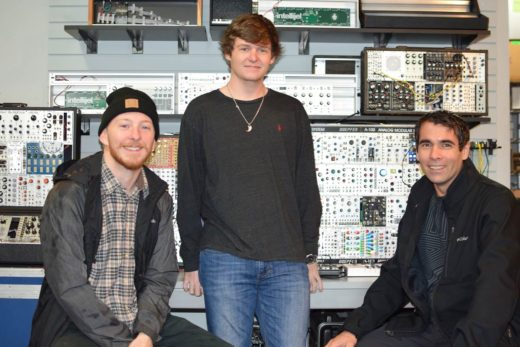 Recording Connection students Grainger Weston, Zach Kattawar and mentor Jeramy Roberts