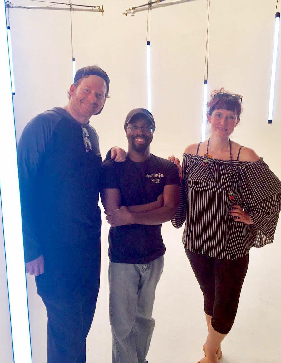 Daniel Lir, Katz Carter, and Bayou Bennett on-set