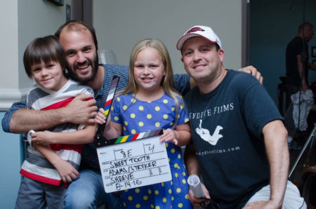 Zac Adams (on right) with Mike Stryker on the set of Sweet Tooth