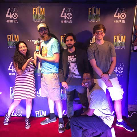 """It's Electric"" crew: Angelica Perez-Castro (2nd AC), Zakk Martin (DP), Kenneth Scofield (2nd AC), Bryan Clemmons (grip), Jason Reinhardt (PA)"