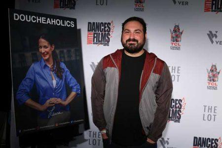 Film Connection grad Alex Geranios at the premiere of Doucheaholics