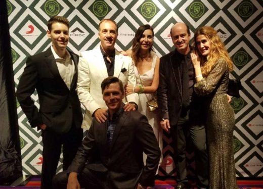 David Brik Laufer, Carlos and Bae Frontera, Rafa and Tami Sardina and Jeff Riggs (in front) at The Latin Grammys 2017