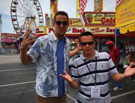 Joe Paciotti (in striped shirt) with Noah Cappe, host of Carnival Eats