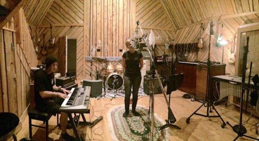 Band members of Kokoros doing overdubs at Far & Away Studios