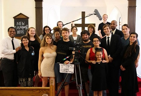"""Film Connection student Giovanna Caruso (front, in red) with cast and crew of the short film """"A Life Worth Living"""""""