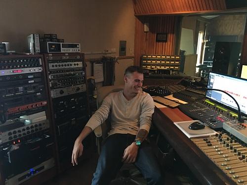Recording Connection grad Zack Slippy at recording studio The Loft
