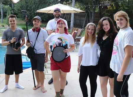 """Film Connection grad Jacob Sizemore (far left) with cast and crew of """"The Porcelains"""""""